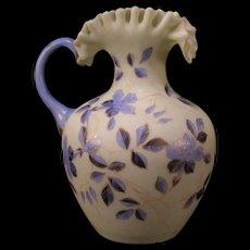 1800s Victorian Custard Uranium Blue Opaque Glass Moser Enamel Pitcher Gold Gilt