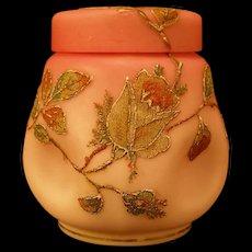 1880's Mt Washington Coralene Glass Potpourri Vase Biscuit Jar Cracker Cranberry Satin
