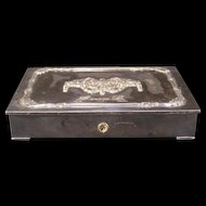19 c Antique Silver Relief Ormolu Dresser Jewelry Trinket Ring Casket Vanity Box