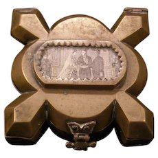 Early 1900's Arts & Crafts Abstract Bronze Continental Souvenir Patch Jewelry Trinket Box