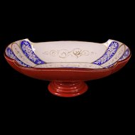 1800's Moser Bohemian Enamel Cased Cranberry Glass Center Piece Bowl Bride Basket