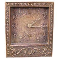 1930's Continental Neoclassical Ansonia Mantle Bronze 8 Day Shelf Case Alarm Clock
