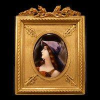 1890's PURPLE French Foil Enamel Bronze Gilt Frame Portrait Plaque Woman Jeweled