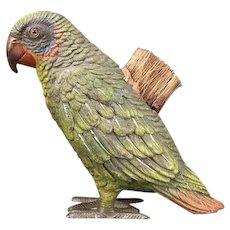 Antique Austrian  Parrot Sculpture Figure Statue Pen Wipe Brush Glass Eyes Metal