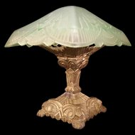 1920's Art Deco Geometric Pyramid Green Depression Glass Slip Shade Boudior Lamp