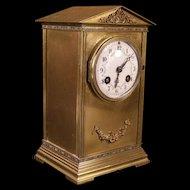 LG 19 c French Bronze R&G Couaillet Frères Cloisoone Enamel Porcelain Case Clock