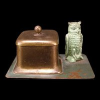 Early 1900's Austrian Vienna Bronze Owl Figure Signed BERGMAN Pen Stand Holder Inkwell
