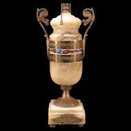 20s Art Deco Egyptian Revival Bronze Gilt Enamel Marble Urn Table Sculpture Lamp