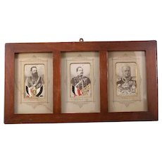 19 c German Prussian King Embroided Silk Cabinet Card Frame Petit Point Tapestry
