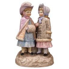 19th c Ernst Bohne & Söhne German Porcelain Girl Figurine Match Holder Figure Group