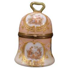 Antique Moser Bohemian Enamel Gilt Bell Opaline Glass Powder Jar Patch Trinket Box