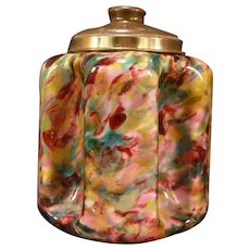 Antique Bohemian End of Day Cased Art Spatter Glass Humidor Biscuit Cracker EOD Jar