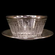 Early 1900's Sterling Silver Overlay Cut Etch Mayonnaise Bowl Underplate Mayo Candy Dish