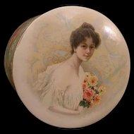 19c Victorian Art Nouveau Girl Woman Portrait Celluloid Case Vanity Collar Box