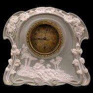 1800's Art Nouveau JasperWare Porcelain Relief Case Portrait Figure Mantle Clock