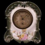19c Victorian Porcelain Embossed Art Nouveau Relief Case Floral Mantle Clock
