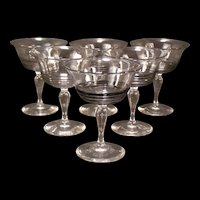 6 1920's ~SIGNED~ Steuben Black Threaded Wine Glass Stem Parfait Sherbert Crystal