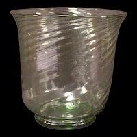 LG 20's 30s Frederick Carder Steuben Green Swirl Optic Blown Crystal Flower Vase