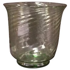 LG 20's 30s Frederick Carder Steuben Green Swirl Optic Blown Crystal Flower Vase
