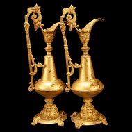 Pair of 1800's Victorian Neoclassical Cast Iron Urn Pitcher Ewer Mantle Vase Spelter
