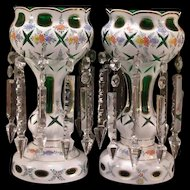 PAIR Vintage Moser Glass Prism Mantle Luster Cut To Clear Green Hand Painted Bohemian