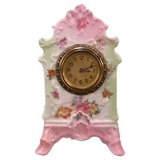 19 c Victorian Porcelain /China Case Embossed Relief Painted Flower Shelf Clock