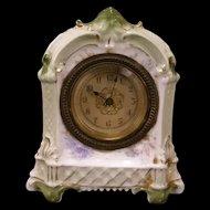 Antique Neoclassical Porcelain/China Case Shelf Clock Beveled Glass Bronze Bezel