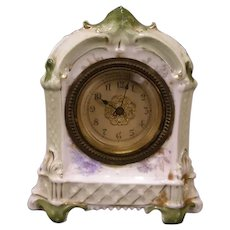 Antique Neoclassical Porcelain/China Case Shelf Clock Beveled Glass Bronze Bezel