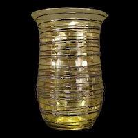 20s Steuben Black Threaded Art Glass Optic RARE Yellow Blown Crystal Flower Vase