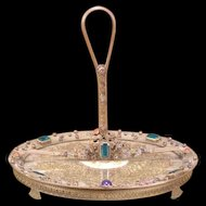 19 c German Bronze Jeweled Dresser Perfume Vanity Lace Tray Calling Card Holder