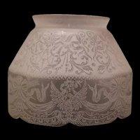 19 c Cut Etch Eagle Ribbon Arrow Glass Gas Oil Kerosene Parlor Lamp Light Shade
