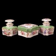 19c Old Paris Porcelain Cologne Perfume Vanity Dresser Bottle Jewelry Powder Box