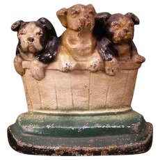 1932 English Bulldog Puppies in Barrel Cast Iron Dog Doorstop Boston Terrier Pup Door Stop
