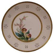 19th Century Minton Transparent Porcelain Hand Painted Flower Tulip Portrait Plaque Plate Heather