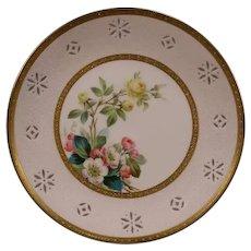 Antique Minton Porcelain Hand Painted Flower Roses Portrait Plaque Plate Plique a Jour Enamel Apple Blossom