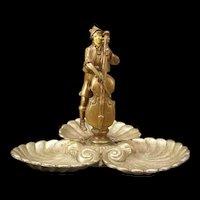 1920's Art DECO French Bronze Shell Figure Center Piece Trinket Dresser Dish Musician Sculpture