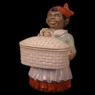 Antique Black Americana Woman Porcelain Figure Dresser Jewelry Trinket Box Figurine