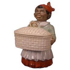Antique Black Americana Woman Porcelain Figure Dresser Jewelry Trinket Box Figurine