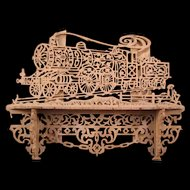 19th c Victorian Carved Walnut Wood Train Locomotive Pipe Holder Stand Wall Rack