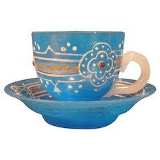 19c Clambroth Moser Bohemian Harrach Blue Opaline Jeweled Glass Tea Cup Saucer