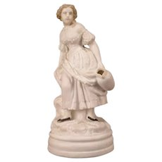 1800's Minton Relief Molded Parian Ware Staffordshire Figure Statue Girl Urn