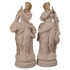 PAIR 1800s Minton Relief Molded Parian Ware Staffordshire Figure Statue Girl Parrot
