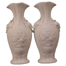 Pair 1800's Minton Parian Porcelain Bisque Relief Grape Ormolu Urn Flower Rose Vase