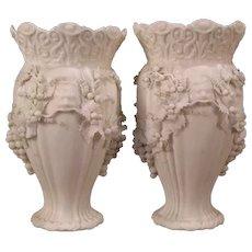 Pair of 1800s Minton Parian Porcelain Bisque Relief Molded Grape Ormolu Flower Vase