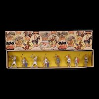 1930s Crescent Toys Britains Lead Soldier Cowboy Indian Horse Litho Knight Box Set