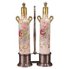 19c Victorian Silver Vienna Austria Gold Gilt Dresser Cologne Perfume Bottles Pair