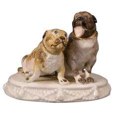19th c Soft Paste Porcelain Bulldog Bull Dog Figure Group Statue Sculpture Staffordshire