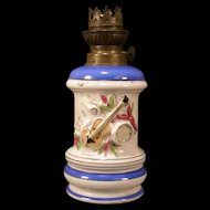 1800's English Porcelain Staffordshire Fairing Musical Instrument Relief Oil Lamp