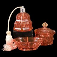 Antique CUT Cranberry Glass Perfume Bottle Powder Jar Dresser Box Set Baccarat