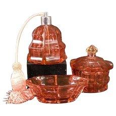Antique CUT Cranberry Glass Perfume Bottle Powder Jar Dresser Box Set Baccarat